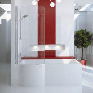 Акриловая ванна BESCO INSPIRO с душевой кабиной 150x70 L