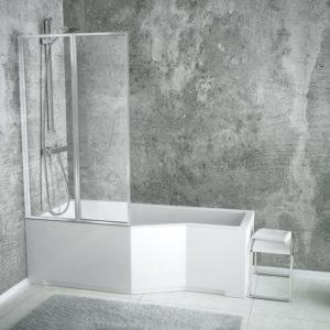 Акриловая ванна BESCO INTEGRA с душевой шторкой из 2 частей 170x75 L
