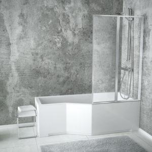 Акриловая ванна BESCO INTEGRA с душевой шторкой из 2 частей 150x75 R
